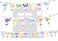 Welcome Home Shooting Stars Assorted Colours Bunting Banner 15 flags 12ft