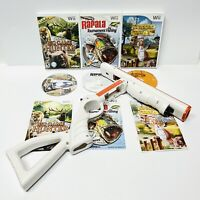 Wii Hunting and Fishing 3 Games Lot With Cabela's Shotgun/Rifle - CIB TESTED!