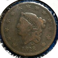 1828 1C Coronet Head Cent, Large Narrow Date (57811)