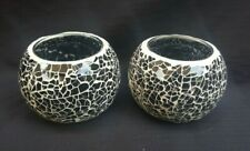 2 Hand Made Black Mosaic Tealight Holders,