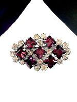 LOVELY SILVERTONE FINISH DIAMOND SHAPED AMETHYST CRYSTAL RHINESTONE DECO BROOCH