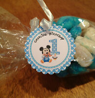 Personalised Baby Mickey & Minnie 1st  Birthday 12  tags ,sweet cones , labels