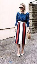 Gucci AUTH NWT Web Striped Wool Silk Crepe Skirt 38 Gardenia Royal Blue White