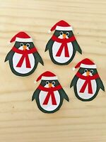 Whimsical Christmas Penguin - 4 - Iron-On Fabric Appliques.  (B)