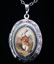 Alicia en el país de las Maravillas Medallón Collar De Plata De Conejo Blanco Tenniel Goth Steampunk