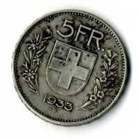Moneda Suiza 1933 B 5 francos suizos plata .835 silver coin
