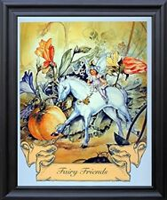 Fairy and Unicorn Horse Friends Fantasy Black Framed Picture Art Print (19x23)