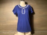 Carolyn Taylor Top Blouse Boho Peasant Style  Embroidered BLUE SIZE MEDIUM