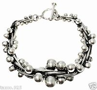 TAXCO MEXICAN VINTAGE STYLE DNA STERLING SILVER BEADED BEAD BRACELET MEXICO