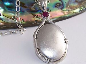 925 Sterling Silver 4 mm Natural Ruby Locket H2O Just Add Water Mermaids Pendant