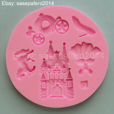 Cinderella Princess Castle silicone mold  fondant, clay. 5 cavities. Cenicienta.