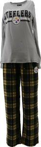 NFL Women's Pajama Set Long Slv Top Flannel Pants Steelers XL NEW A387687