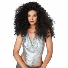 Adult Long Curly Brunette Disco Diva Do Diana Ross Afro 60s 70s Costume Wig