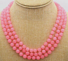 "Beautiful 3 row 6MM pink rose emerald beads Gemstone Necklace 17-19"" JN1516"