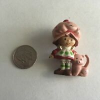 "Vintage Strawberry Shortcake & Pet Custard Cat Miniature Mini 2"" Figure"