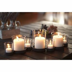 Rustic Iron & Glass Multiple Candle Holder Tealight Votives Removable Hurricane
