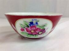 Antique Imperial Russian Porcelain Gardner Bowl Hand Painted Red Flowers Lot #3