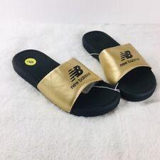 NWT New Balance Women's Gold Black Pool Slides Size 9