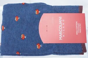 New Marcoliani Milano Men's Socks Chestnut Blue Red Cotton