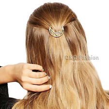 Blogger Gold Crescent Moon Triangle Cut Out Hair Pin Clip Dress Snap Barrette