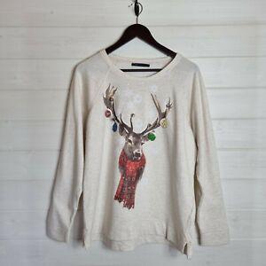 MARKS & SPENCER Reindeer Bauble Jingle Bell Jumper UK 16 Cotton Sweater