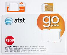 AT&T PREPAID GO PHONE 3G MICRO SIM CARD READY ACTIVATE, SKU 72287.