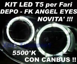24 LED T5 BIANCO ANGEL EYES con CANBUS fari FK DEPO 2,3