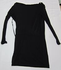 Haute Hippie Black Open Shoulder Modal Boat Neck Dress Size S NWT $395