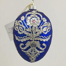Sapphire-silver egg-PARZENICA-ornament hand decorated in Art Studio-Edward Bar