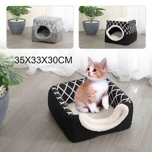 Pet Cat Dog Puppy Nest Bed Soft Warm Cave House Closed Cat Room Sleeping Mat UK