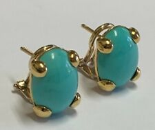Estate Jewelry Oval Polished Turquoise Earrings 18K Yellow Gold Omega Backs 1/2""