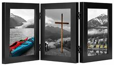 Decorative Hinged Desk Top Photo Frame for 3 Vertical Openings 5x7 Pictures