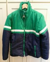 Ski Jacket Size Medium - Green Blue Colorblock Stripe Puff Vintage 70s 80s Spill