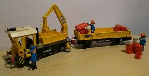 Playmobil Eisenbahn - Set Arbeitszug - Baulok mit Niederbordwagen (Art-Nr 4053)