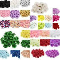 50Pcs Artificial Silk Rose Peony Flower Heads Bulk Craft Wedding Decor Various