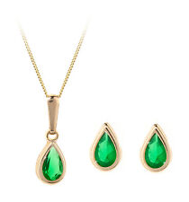 9ct gold May (emerald) birthstone earring, pendant & chain set. Gift box