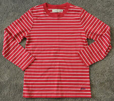 JOULES Boys Tee Shirt Long Sleeve Top Casual 9-10 Years Red Striped Cotton
