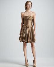 NWT Halston Heritage Bronze Taffeta Pleat Strapless Dress sz.0