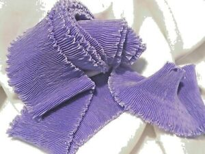 """3"""" FORTUNY STYLE PLEATED RAYON MOIRE' RIBBON-BTY STRETCHED- LAVENDER"""