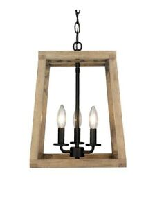 Modern Rustic Wooden Lantern 3 Light Fixture Ceiling Pendant Black Farmhouse