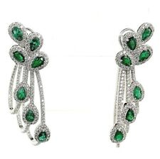 5.75 Carats t.w. Emerald and Diamond Chandelier Earrings Emeralds 3.10 carats
