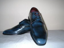 LONDON BROGUES BRUNE MENS NAVY POLISHED LEATHER  DERBY SHOES 7/41 RRP £89.99