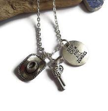 Walking Dead themed Rick Carl Cowboy silver charm necklace fan gift  xmas UK