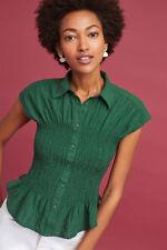 NWT Sz XS Anthropologie Bellamy Buttondown Green Top Size Small Shirt 0 -2 New!
