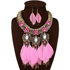 Gorgeous Crystal Flower Feather Tassel Bib Statement Choker Necklace Earring Set