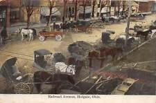 E34/ Holgate Ohio Postcard 1909 Railroad Avenue Busy Day Stores