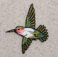 Small Hummingbird LEFT Bird/Red Throat - Iron on Applique/Embroidered Patch