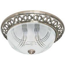 Deckenleuchte Deckenlampe 2x E27/max.60W Metallguss Messing fumé und Glaskuppel