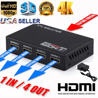Full HD HDMI Splitter Amplifier Repeater 1080p 4K 4 Port Hub 3D 1 in 4 out 1X4