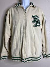 Bad Boy Men Size L Ivory Varsity Jacket Cotton Hip Hop Monogram Zipper
